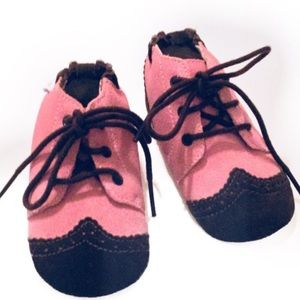 Robeez Pink and Brown Leather Shoes 6-12 months